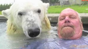 Polar Bear And Man Have Incredible Bond