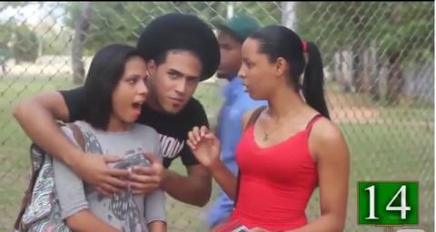 Man going around touching women's breast...